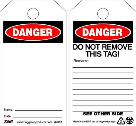 Danger Tag, 5-3/4 x 3 In, Plstc, OSHA, PK10