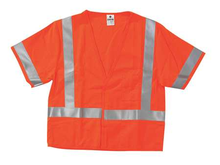 Flame Resist Vest, Class 3, M, Orange