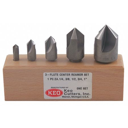 Countersink Set, 5 PC, 3 FL, 100 Deg, HSS