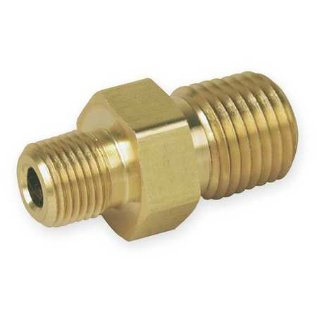 "1/2"" x 3/8"" MNPT Brass Reducing Hex Nipple"