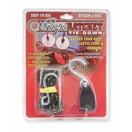 Rope Ratchet, Hook, 6 ft.L, Polyester