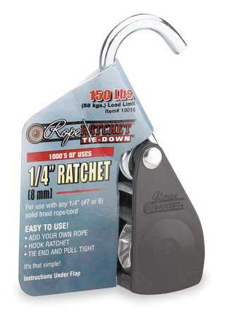 Rope Ratchet, Hook, 1/4 In.W, Steel