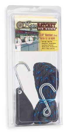 Rope Ratchet, Hook, 15 ft.L, Polypropylene