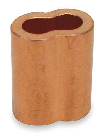 Wire Rope Sleeve, 3/16 In, Copper, PK25