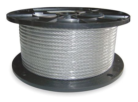 Cable, 3/64 In, L250Ft, WLL54Lb, 7x7, Steel