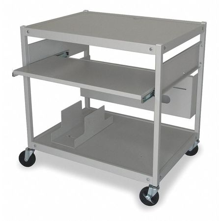 Mobile Computer Cart, Gray Mist