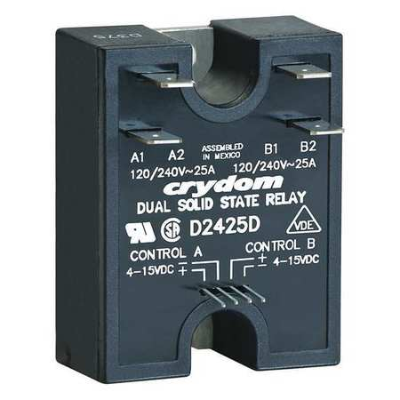 Dual Solid State Relay, 4 to 15VDC, 25A