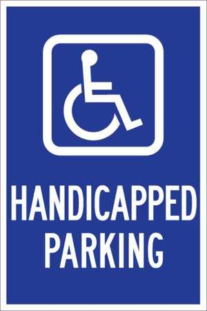 Parking Sign, 18 x 12In, WHT/BL, G-42, HDCP