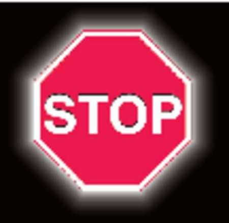 Stop Sign, 30 x 30In, WHT/R, Aluminum