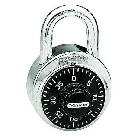 Combination Padlock, Center, Black/Silver