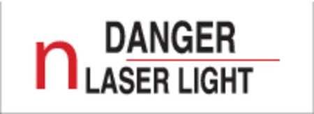 Danger Laser Sign, 5 x 14In, R and BK/WHT