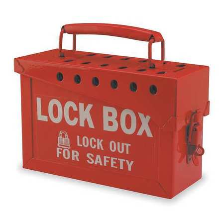 Group Lockout Box, 13 Locks Max, Red