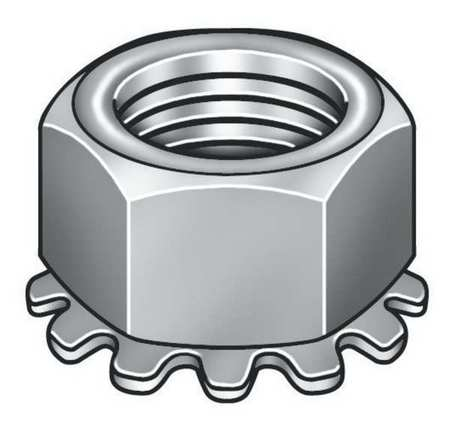 "1/4""-20 Grade 8.8 Zinc Plated Finish Steel Tooth Washer Lock Nut,  100 pk."