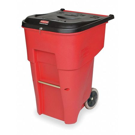 65 gal.  Rectangular  Red  Trash Can w/ Lid