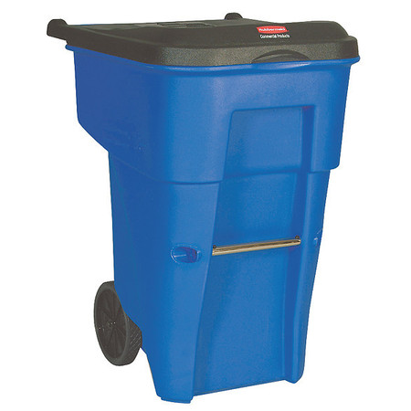 95 gal.  Rectangular  Blue  Trash Can w/ Lid