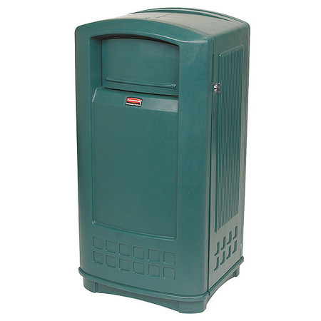 35 gal.  Rectangular  Green  Trash Can w/ Side Opening Door