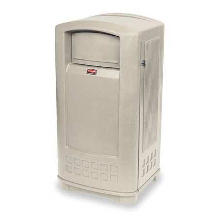 35 gal. Beige Plastic Rectangular Trash Can