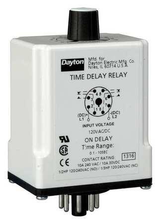 Time Dlay Rlay, 120VAC/DC, 10A, DPDT, 3 sec.