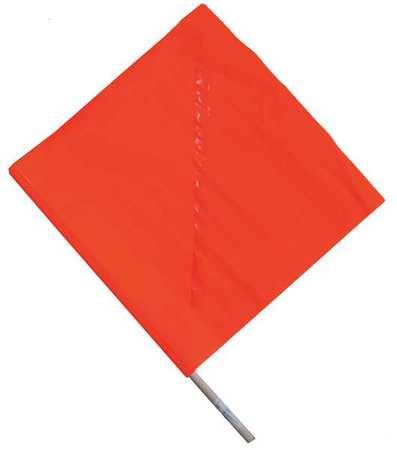 Handheld Warning Flag, Orange, 18x18In