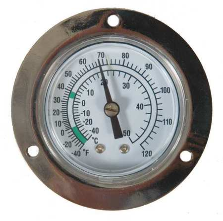 Analog Panel Mt Thermometer, -40 to 120F