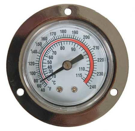 Analog Panel Mt Thermometer, 40 to 240F