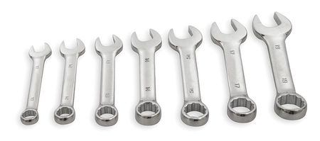 Combo Wrench Set, Short, 10-19mm, 7 Pc