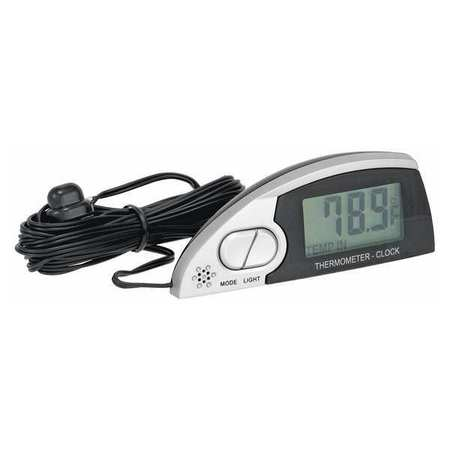 In/Out Thermometer/Clock, Lighted, Silver