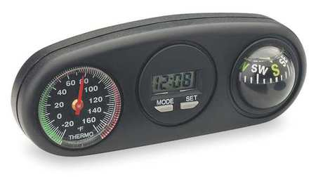 Clock/Compass/Thermometer, Indicator, Blk