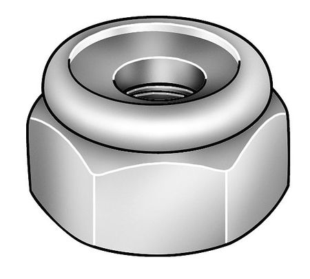 "1""-8 Plain Finish 18-8 Stainless Steel Nylon Insert Lock Nut,  1 pk."