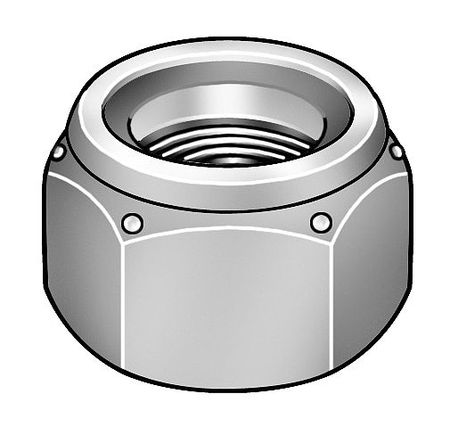 "1-1/4""-7 Grade 2 Zinc Plated Finish Steel Nylon Insert Lock Nut"