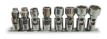 Socket Set, SAE, 3/8 in. Dr, 8 pc