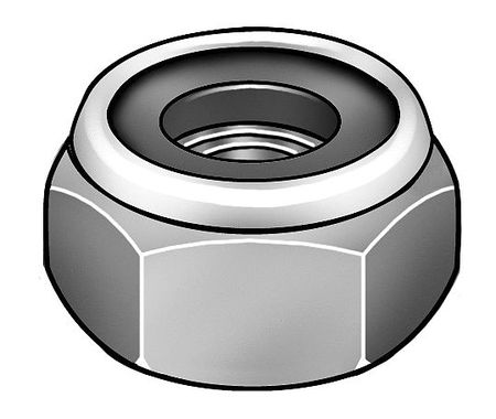 "1/2""-13 Grade 5 Zinc Plated Finish Low Carbon Steel Nylon Insert Lock Nut,  100 pk."