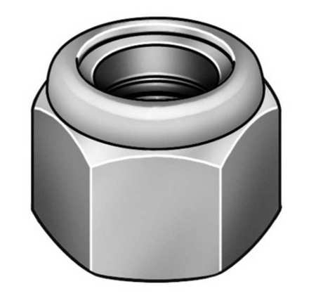 "2-3/4""-12 Grade 2 Plain Finish Steel Nylon Insert Lock Nut,  1 pk."