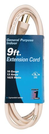 9 ft. 16/3 3-Outlet Extension Cord SJT