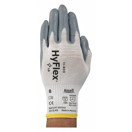Coated Gloves, Palm, 2XL, Gray/White, PR