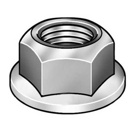 "1/2""-13 Plain Finish 18-8 Stainless Steel Serrated Flange Lock Nut,  10 pk."