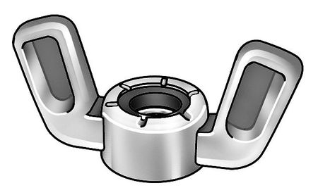 #8-32 Zinc Alloy Zinc Plated Nylon Insert Wing Nuts,  25 pk.