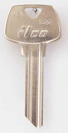 Key Blank, Brass, Type S22, 6 Pin, PK10