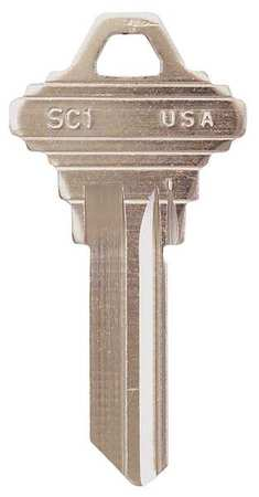 Key Blank, Brass, Type 1145, 5 Pin, PK50