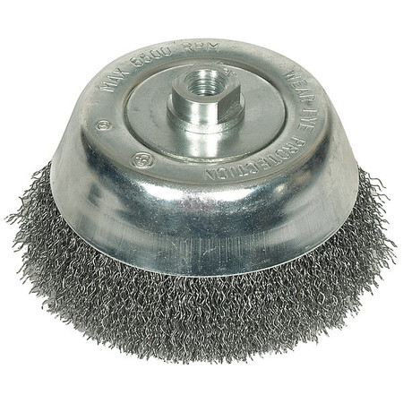 "Crimped Cup Wire Brush,  5"" Dia,  0.0200 Wire"
