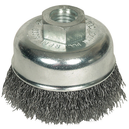 Crimped Cup Wire Brush,  2-3/4 Dia,  0.014 Wire