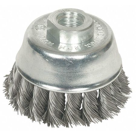 "Knot Wire Cup Wire Brush,  2 3/4"" Dia,  Steel"
