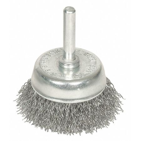 Crimped Cup Wire Brush,  1 3/4 Dia,  0.0118 Wire