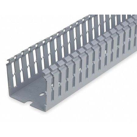 Wire Duct, Narrow Slot, Gray, Width 2.25 In