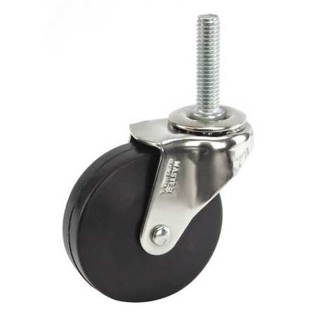 Swivel Stem Caster, Rubber, 2-1/2 in, 75 lb