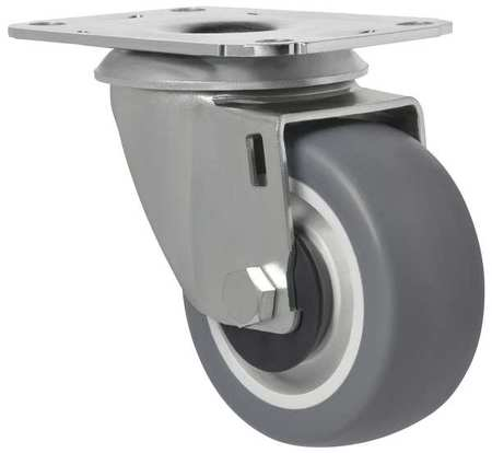 Swivel Plate Caster, Therm Rubber, 3 in, 154 lb