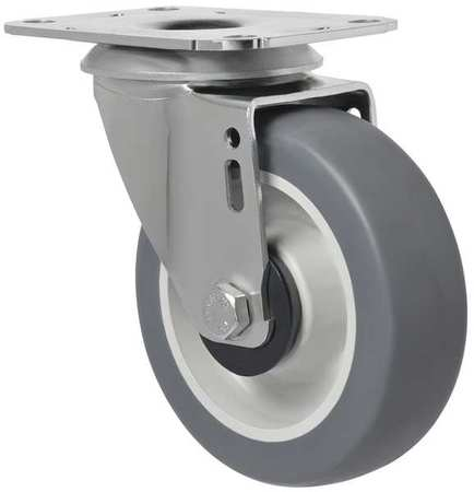 Swivel Plate Caster, Therm Rubber, 4 in, 176 lb