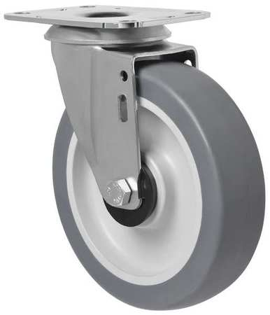 Swivel Plate Caster, Therm Rubber, 5 in, 198 lb.