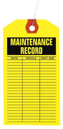"3-1/8"" x 6-1/4"" Yellow Inspection Tag,  Maintenance Log,  Pk1000"
