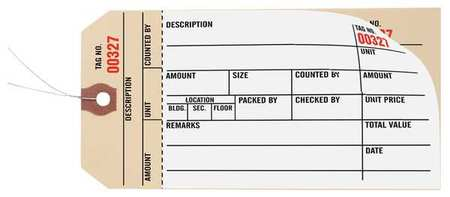 "3-1/8"" x 6-1/4"" White Inspection Tag,  Inspection Log,  Pk1000"